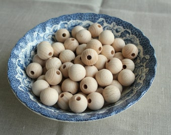 18 mm - unfinished wooden beads, natural wooden beads, eco-friendly wooden beads, beech wood beads, beads with hole for crafting