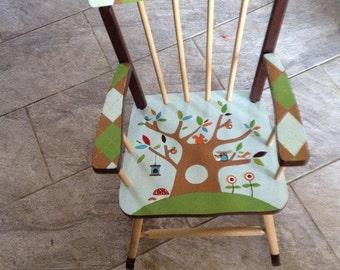 Custom Painted Kid's Rocking Chair Woodland Theme