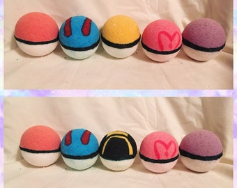 6 pack Pokeball Bath Bombs (with a mystery toy inside!)