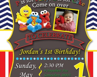 Sesame Street First Birthday Invite