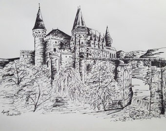 Corvinesti Castle Landscape Ink Drawing Original