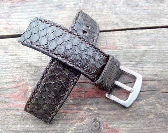Watch strap Handmade Genuine leather Python skin