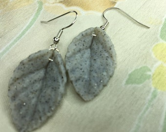 Leaf shaped gray granite earring made with polymer clay and silver colored findings