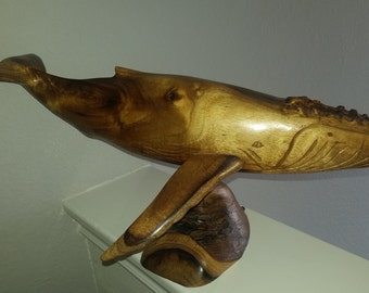 Whale Koa Wood Sculpture