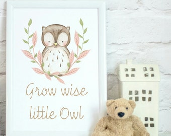 Grow wise little owl, watercolour, owl art, Nursery decor, wall art, kids room,  wall print