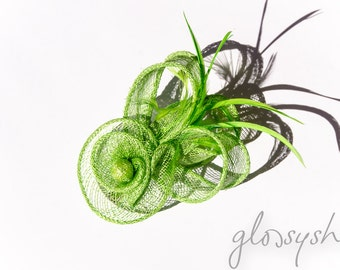 Lime Fascinator 2 in1 Hair Clip and Brooch