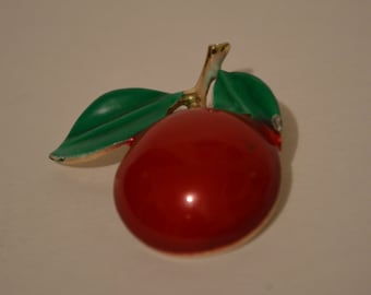 Vintage Cherry Brooch Pin Costume Jewelry