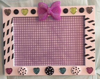 Girls Picture Frame, Leopard, Cheetah, Purple and Black Frame