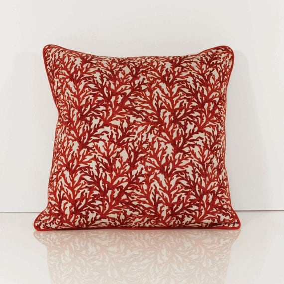 Throw Pillow Etsy : Coral Throw Pillows Red Throw Pillow Cover by OneHappyPillow