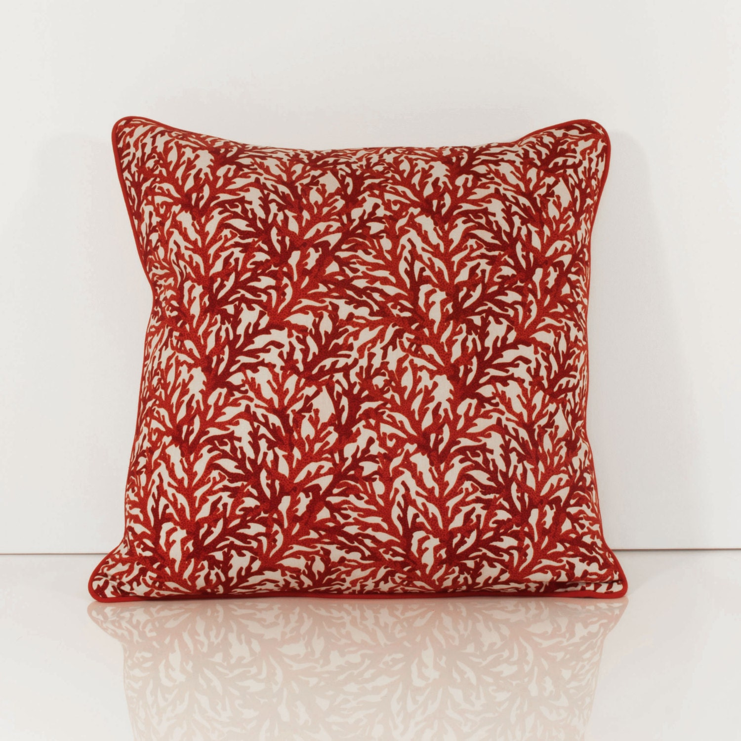 Throw Pillows With Red Coral : Coral Throw Pillows Red Throw Pillow Cover by OneHappyPillow