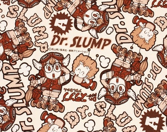 Dr.SLUMP Character Fabric made in Japan / Half Meter(50cm x 108cm)