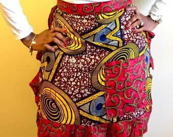 Apron Skirt / African Wax Print apron