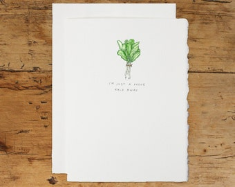 Handmade Pun Greeting Card: I'm Just A Phone Kale Away