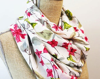 White Infinity Scarf, Infinity Scarf, Floral Scarf, Summer Scarf, Light Scarf