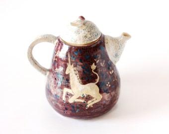 Wasserkocher mit Einhorn / Milfleur Wasserkocher / Blumen Teekanne / Keramik Teekanne