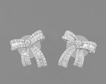 14 K Diamond rectangular and round 4 CT white gold earrings/rings