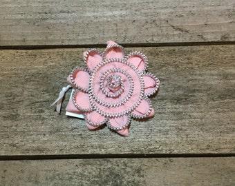 Pink Zipper Flower Pin