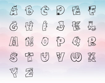 Caricature letters funny font SVG, cute svg font for cutting machines, Vector letters digital download files for cutting programs
