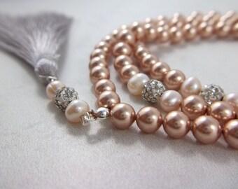 Swarovski Rose Gold Pearl Tasbih Tasbeeh Muslim Prayer Bead Gift Eid Wedding Islamic 99 bead Subha Misbah