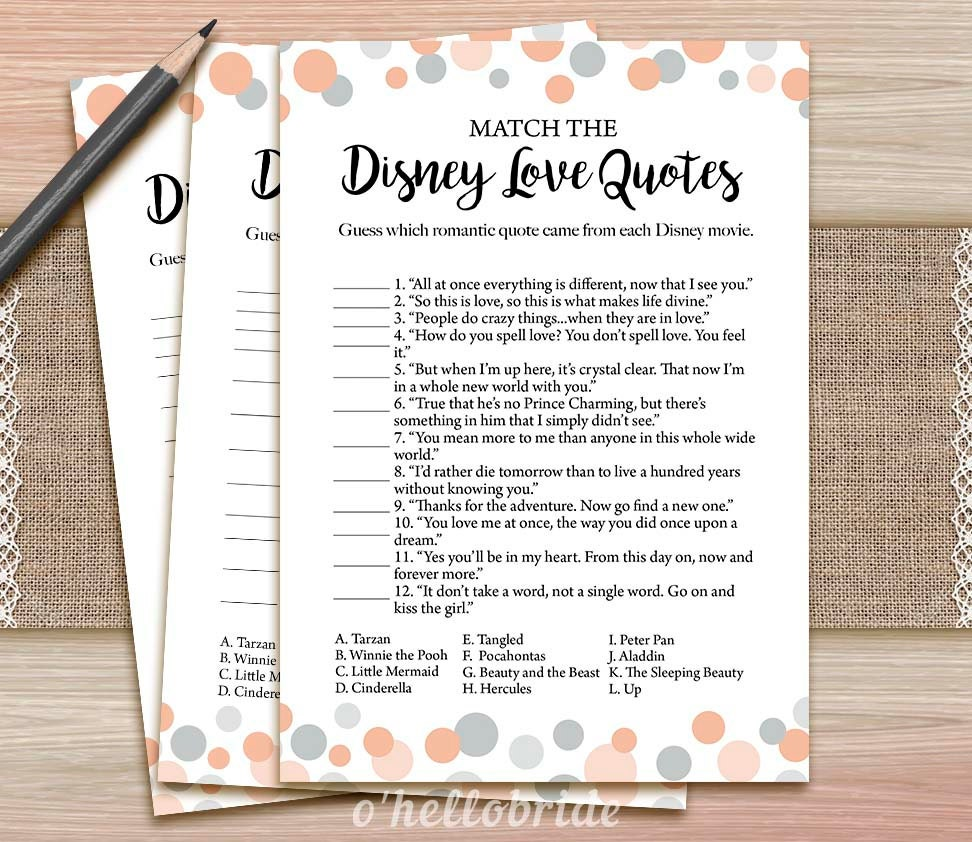 Uncategorized Love Matcher Game disney love quotes match game printable coral bridal shower