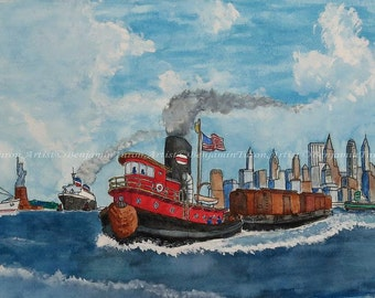 Watercolor, Tug Boat, Watercolor Print, Tug Boat Painting, Nautical Painting, Landscape Painting, Original Art, Harbor Painting, Wall Decor