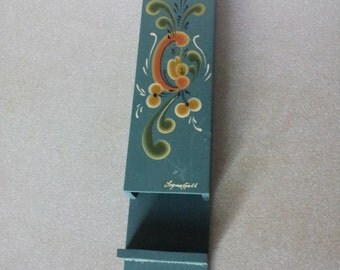 Blue Vintage Match Box Holder Wooden with flowers.Scandinavian Decor