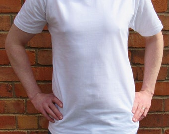 Crew Neck White Plain Men T-shirt