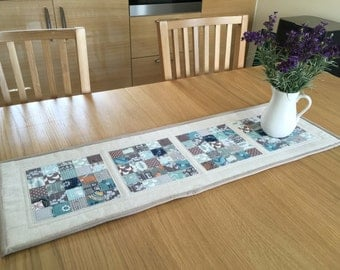 Patchwork table runner, table topper, quilted table runner, modern table runner, teal table topper, table centrepiece, housewarming gift