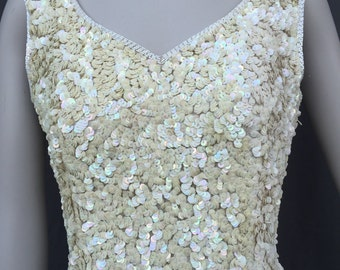 Vtg 80s heavily sequined off white irridescent sequin wiggle bombshell pinup wedding dress