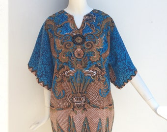 Vtg 70s cotton ethnic dragon siamese mirrored avant harde dashiki dress top shirt