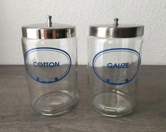 Set of two Vintage Medical Canisters, medical jars, doctor's office, gauze and cotton storage
