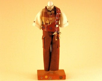 Dollhouse mannequin, men, Steampunk Travelling 2, scale 1 : 12, H 130 mm.,KO/510