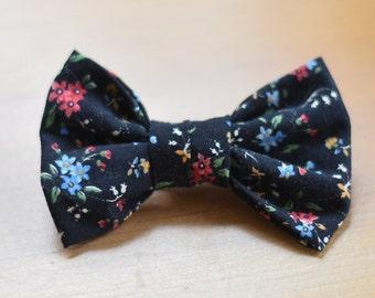 Black Micro Floral Cute Handmade Hair Bow