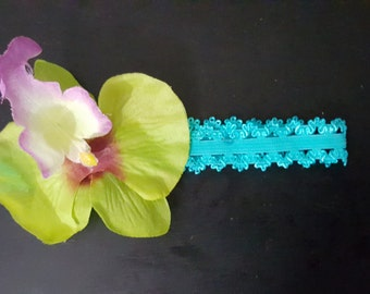Infant/ Girl's Headband Pink/ Blue With Orchid Flower