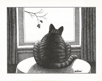 B. KLIBAN CAT Original Vintage Art Print *Looking Out The Window Tree* High-Quality Decorative Wall Hanging Home Decor Adorable, Comical Art