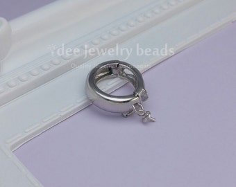 925 silver enhancer bail pendant with lock interchangeable pendant cup pin pendant, Solid 925 Sterling Silver with Rhodium Plated F247