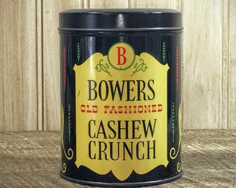 Vintage Tin Canister | Old Fashioned Bowers Cashew Crunch