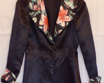 Vintage 1930s Ladies Silk and Satin Tuxedo Jacket 'Le Smoking'