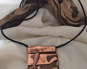 Folded copper pendant with fish