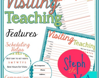 Visiting Teaching Planner Pages - Full Size - 8.5x11 LDS Home Management Binder Printable