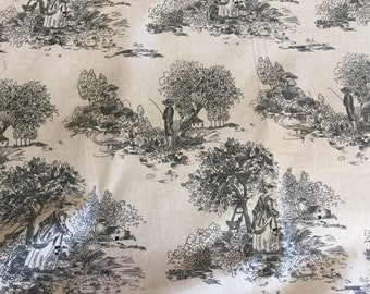 Classic Black and White Cotton Toile Home Decor, Upholstery Fabric by the Yard