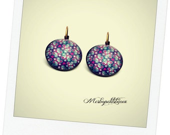 Pink Purple floral cabochon earrings
