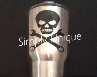 Yeti Decal | Skull and Wrenches | Tumbler Decal | Skull | Mechanic