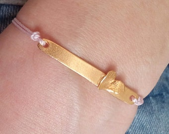 Gold heart bar bracelet, adjustable bracelet, love bracelet, heart bracelet, gift jewelry