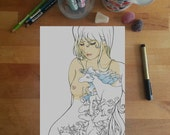 The Last Unicorn Colouring Page, Lady Amalthea, unicorn colouring page, adult coloring pages, fantasy colouring page