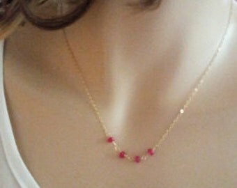 Genuine Ruby Necklace on Delicate 14K Gold Filled Chain / Sterling Silver/ Rose Gold, Minimal Necklace, Everyday Jewelry Gift just1gold
