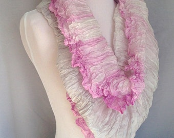 Scarf | Shibori Dyed Silk | Silk Scaves | Pink and Gray Scarf | Ombre Scarf |  Shibori Hand Dyed | Infinity Scarf | RISDteam| Womens Scarves