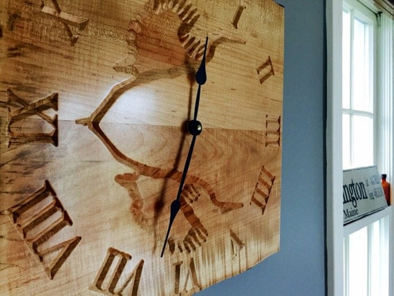 Heron carved on curly maple live edge large wall by