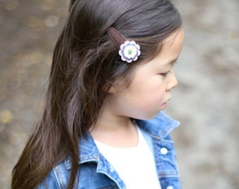 Flower Hair Clips, Baby Hair Clips, Wool Felt Hair Clips, Toddler Hair Clips, Girl Hair Clips, Handmade, Handsewn, Girl's Barrette