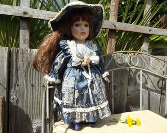 Vintage Elite Doll Leonardo Collection Porcelain Vintage Doll 16.5 inch's Original Clothes Victorian Dress
